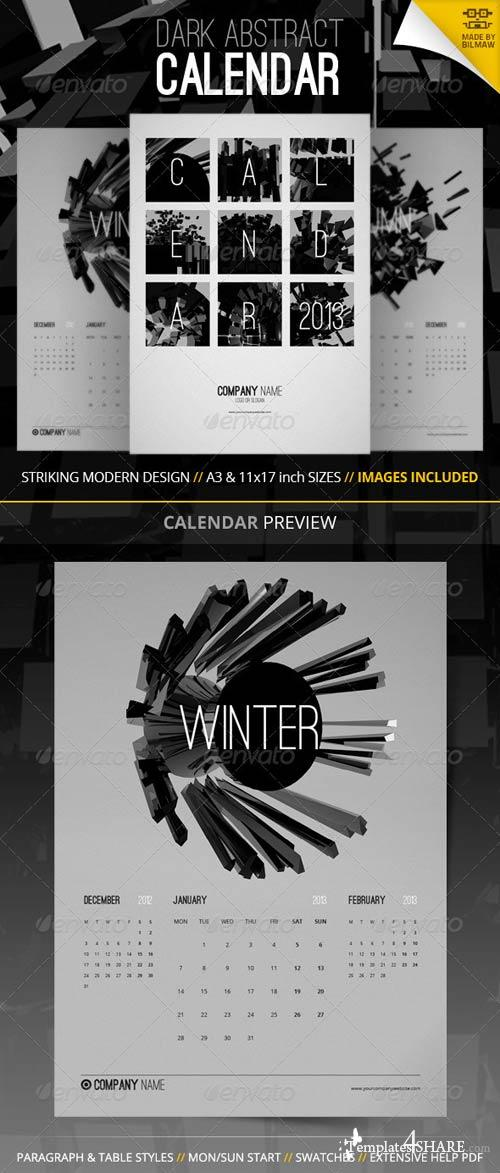GraphicRiver Dark Abstract Calendar