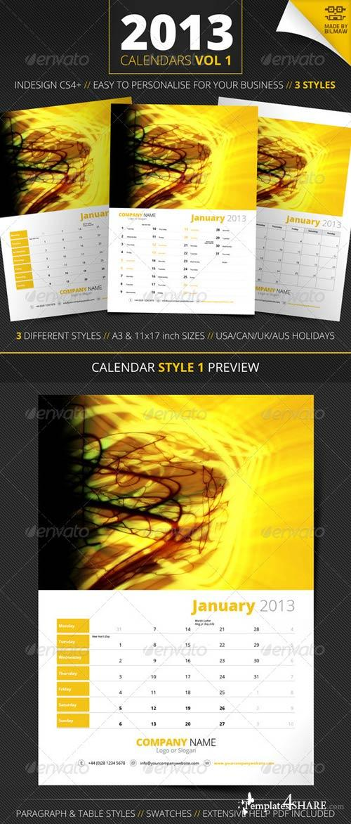 GraphicRiver 2013 Calendars Vol 1