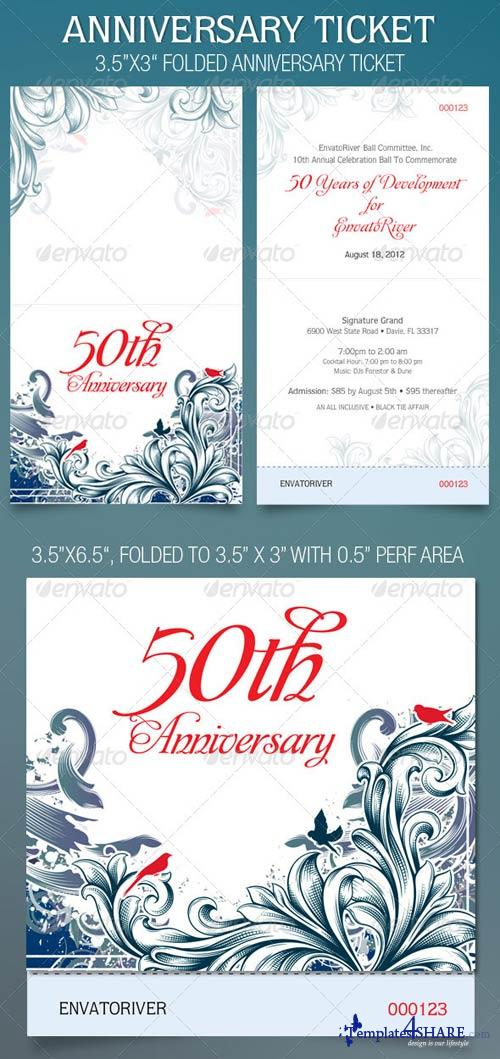 GraphicRiver Folded Anniversary Ticket Template