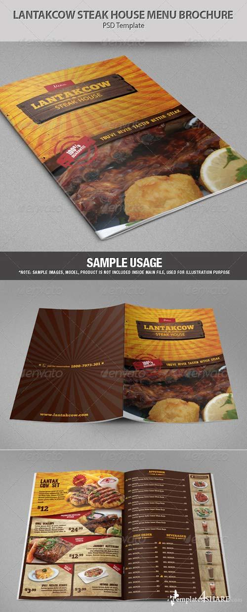 GraphicRiver Lantakcow Steak House Menu Brochure