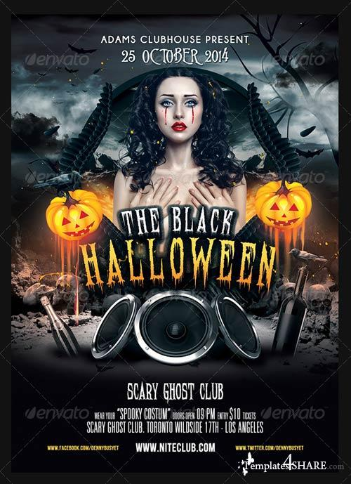 GraphicRiver The Black Halloween Psd Flyer Template