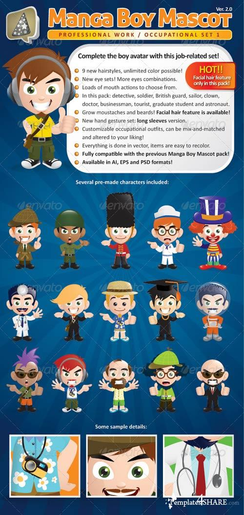 GraphicRiver Manga Boy Mascot Creation Kit - Occupational Set