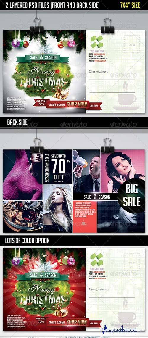 GraphicRiver Christmas Sale Postcard-Front & Back