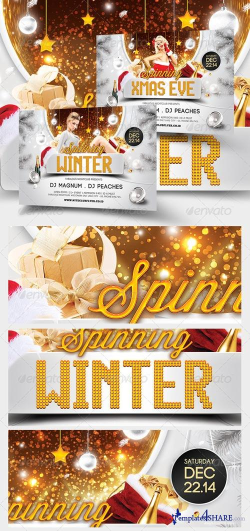GraphicRiver Spinning Winter And Xmas Party Flyer Template
