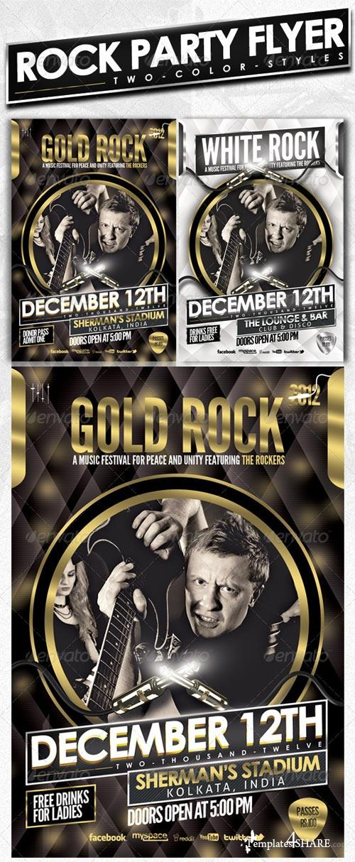 GraphicRiver Rock Party Flyer - Gold & White (Psd Template)