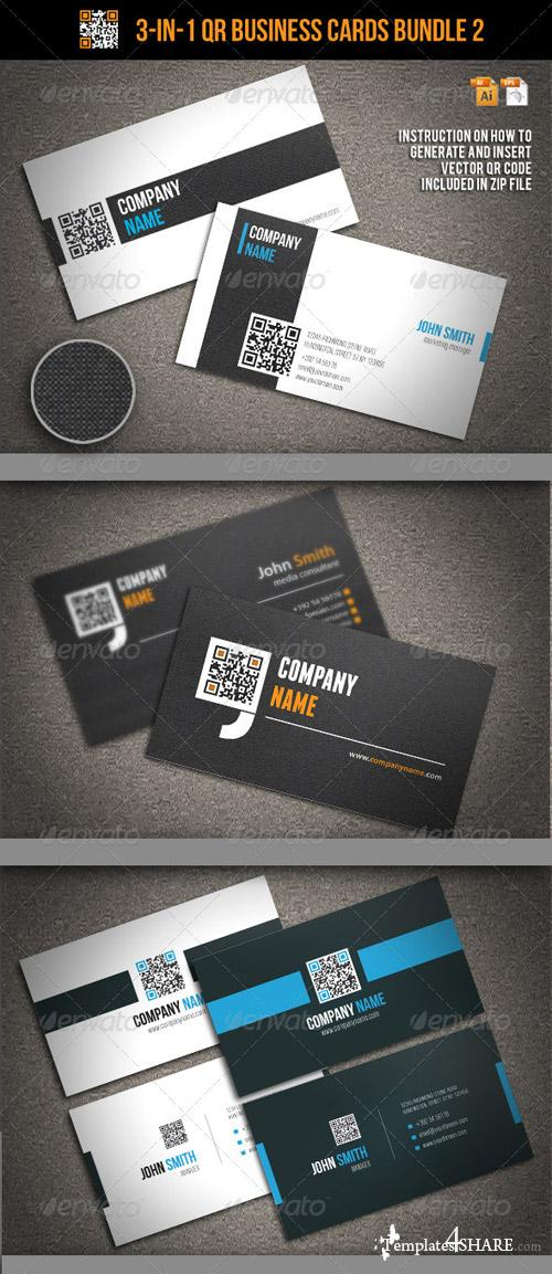 GraphicRiver 3-In-1 QR Business Cards Bundle 2