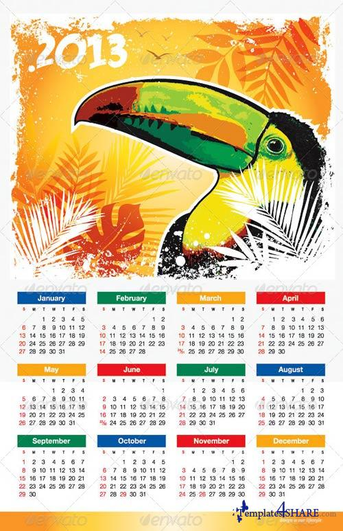 GraphicRiver Tropical Bird 2013 Calendar