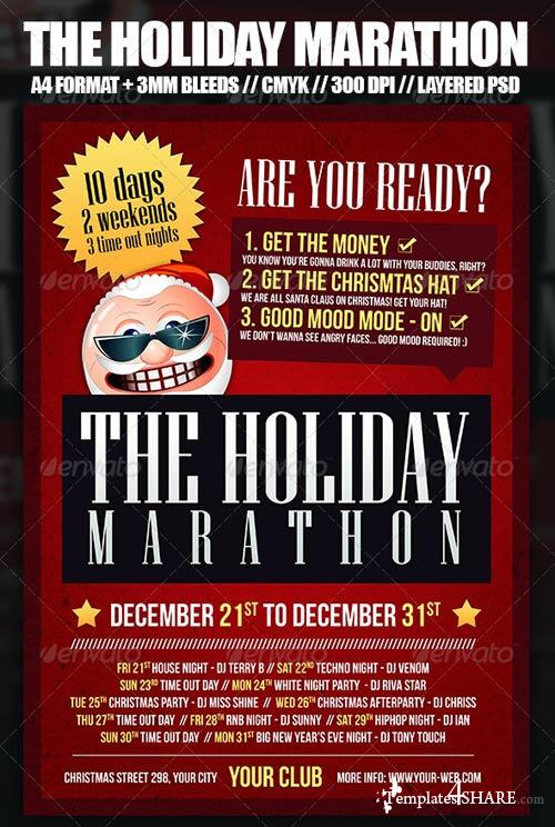 GraphicRiver Christmas Holiday Marathon Flyer Template