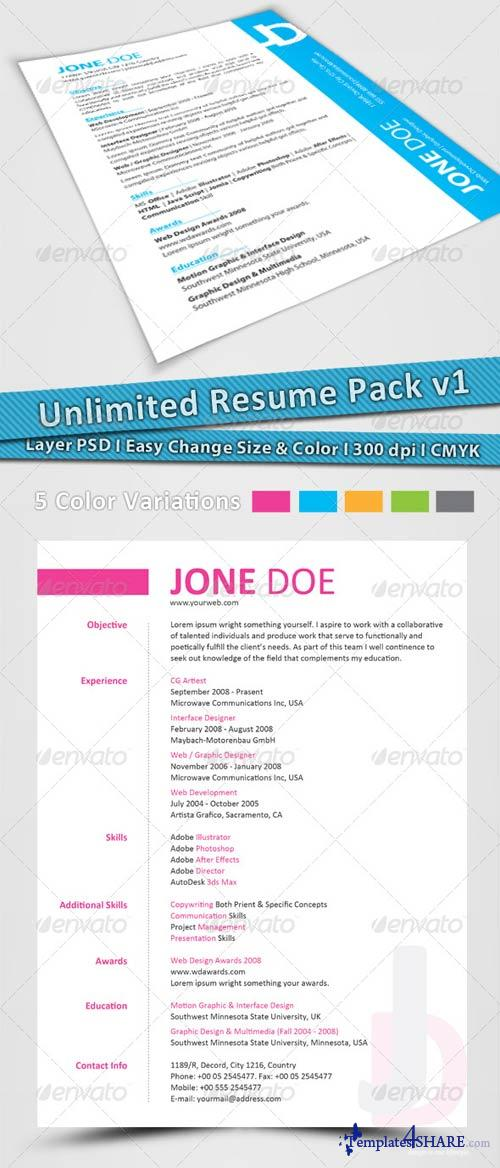 GraphicRiver Unlimited Resume Pack v1