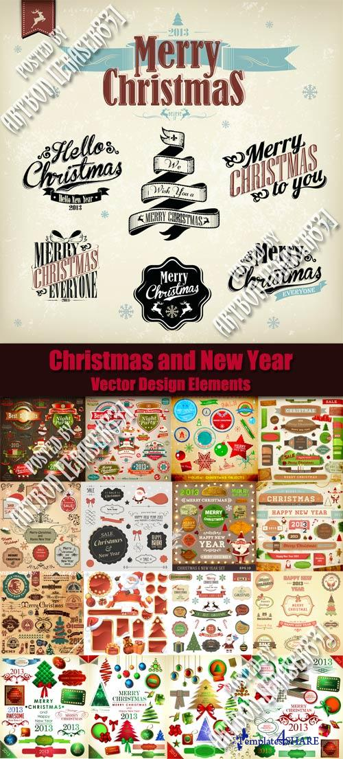 Christmas and New Year Vector Design Elements