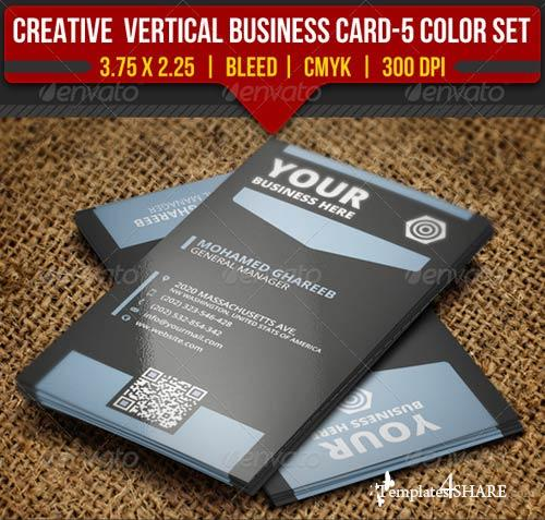 GraphicRiver Creative Vertical Business Card-5 Color Set