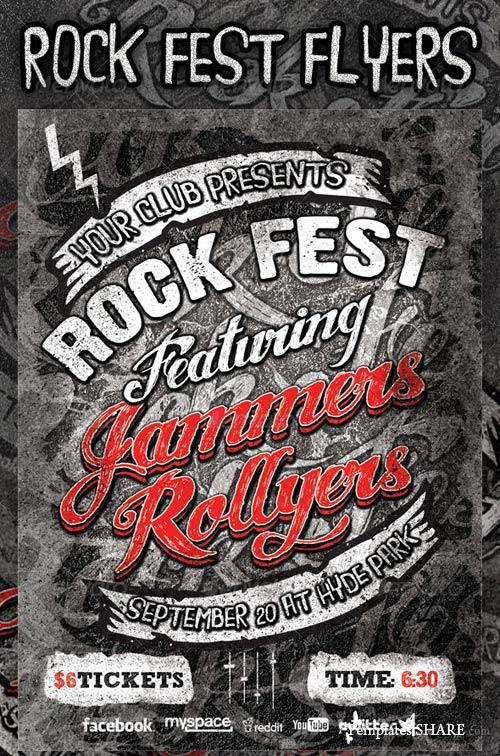 GraphicRiver Rock Fest Typographic Flyer PSD Template