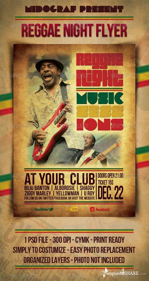 GraphicRiver Reggae Night Music Flyer