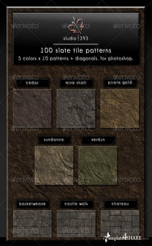 GraphicRiver 100 (5x10x2) Slate Paving Tile Patterns