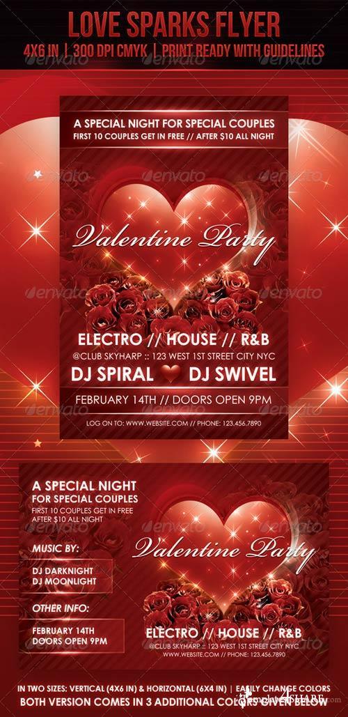 GraphicRiver Love Sparks Valentine Flyer