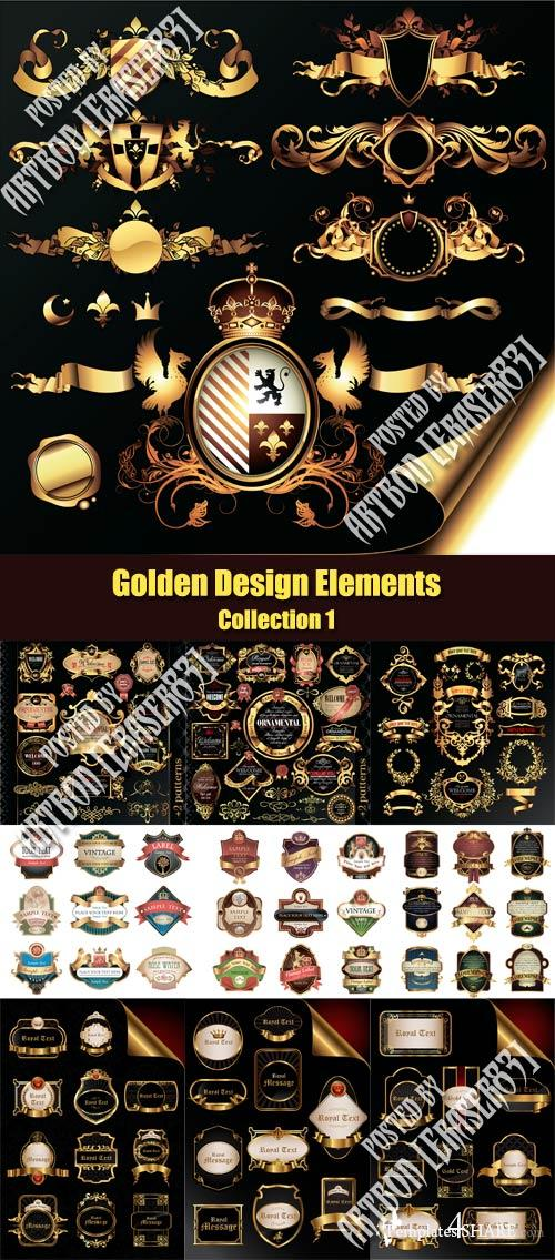 Vector Golden Design Elements - Collection 1