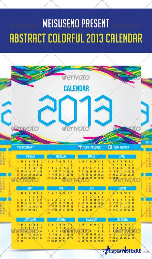 GraphicRiver Abstract Colorful 2013 Calendar Template