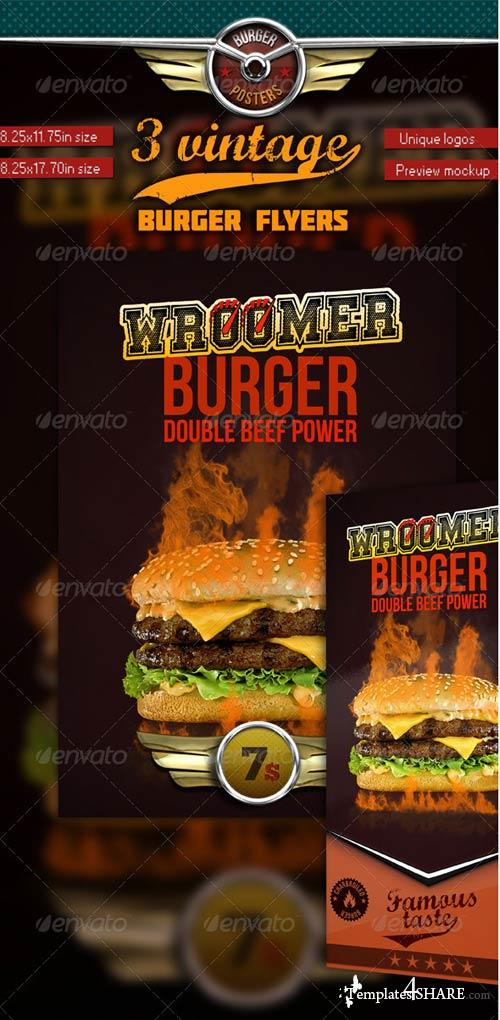 GraphicRiver 3 Burgers Vintage Posters (Flyers)