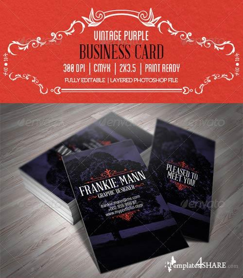 GraphicRiver Vintage Purple Business Card