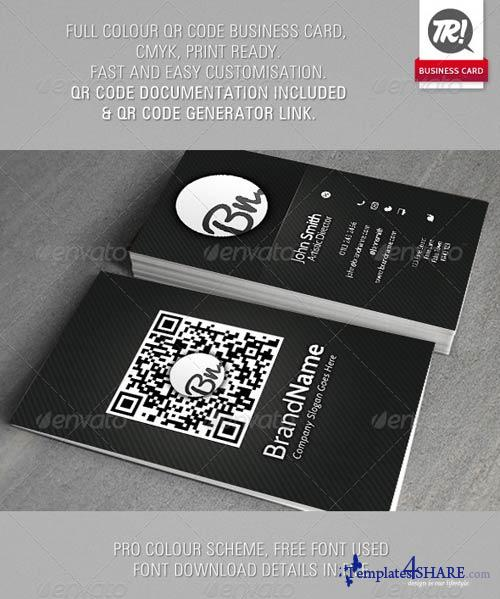 GraphicRiver Dark Carbon Custom QR Code Business Card