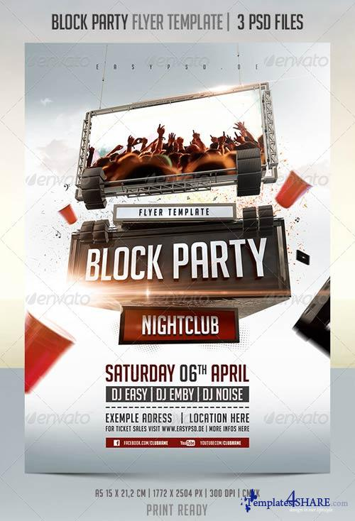 Graphicriver block party flyer template templates4share for Block party template flyers free