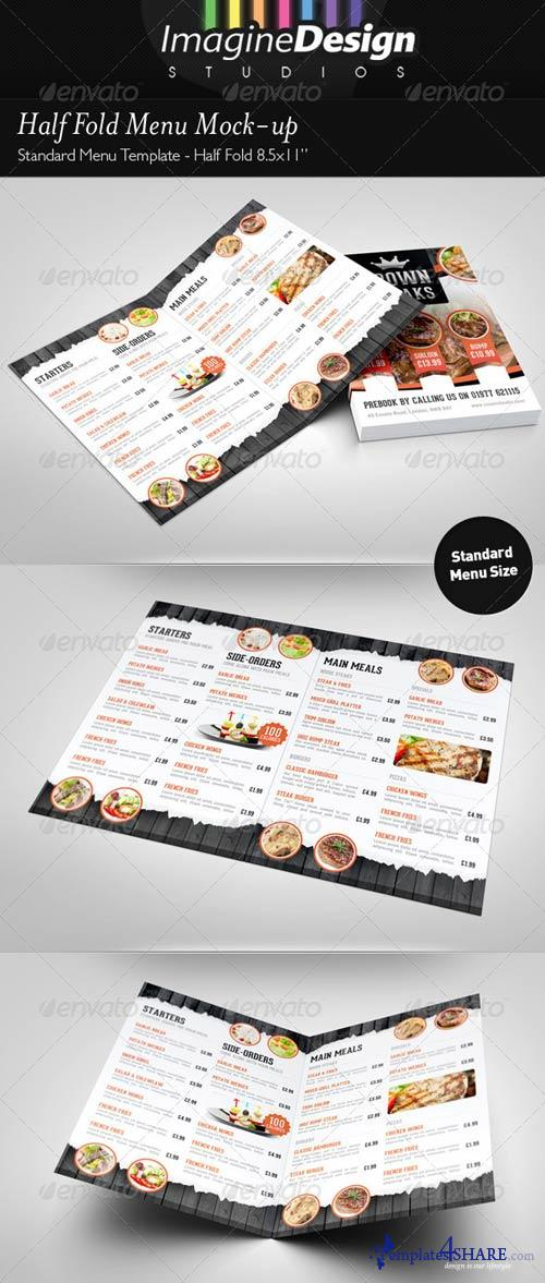 GraphicRiver Half Fold Menu Mock-up