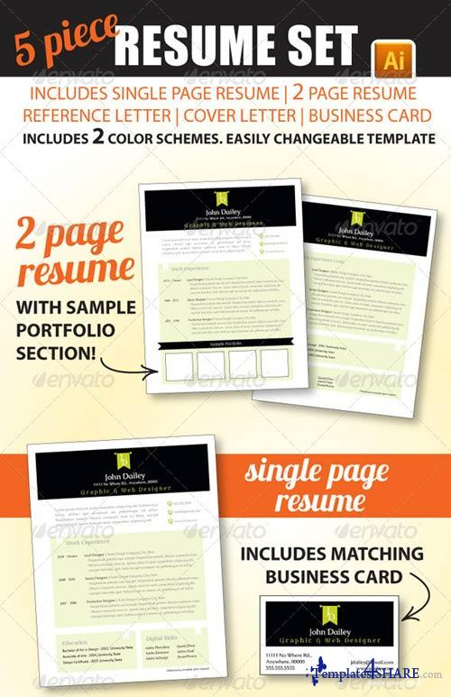 GraphicRiver 5 Piece Resume Set