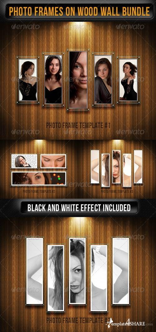 GraphicRiver Photo Frames On Wood Wall Pack