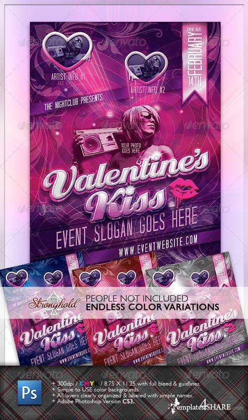 GraphicRiver Valentine's Kiss Flyer