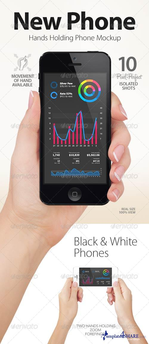 GraphicRiver Hands Holding Black and White Phones   App & UI Mockups