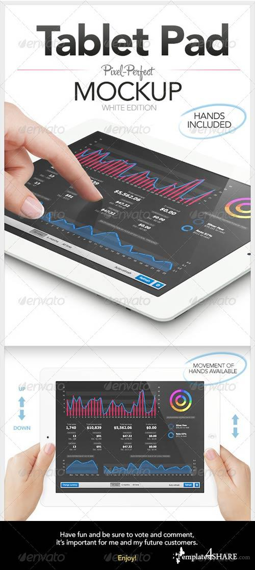 GraphicRiver Tablet Pad with Hands Mockup | White Edition