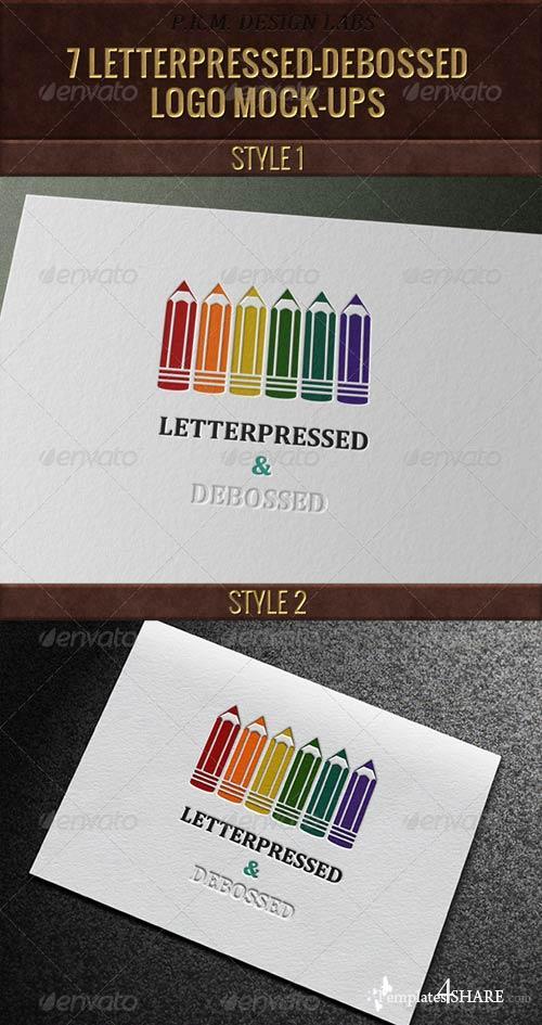 GraphicRiver 7 Letterpressed-Debossed Logo Mock-Ups