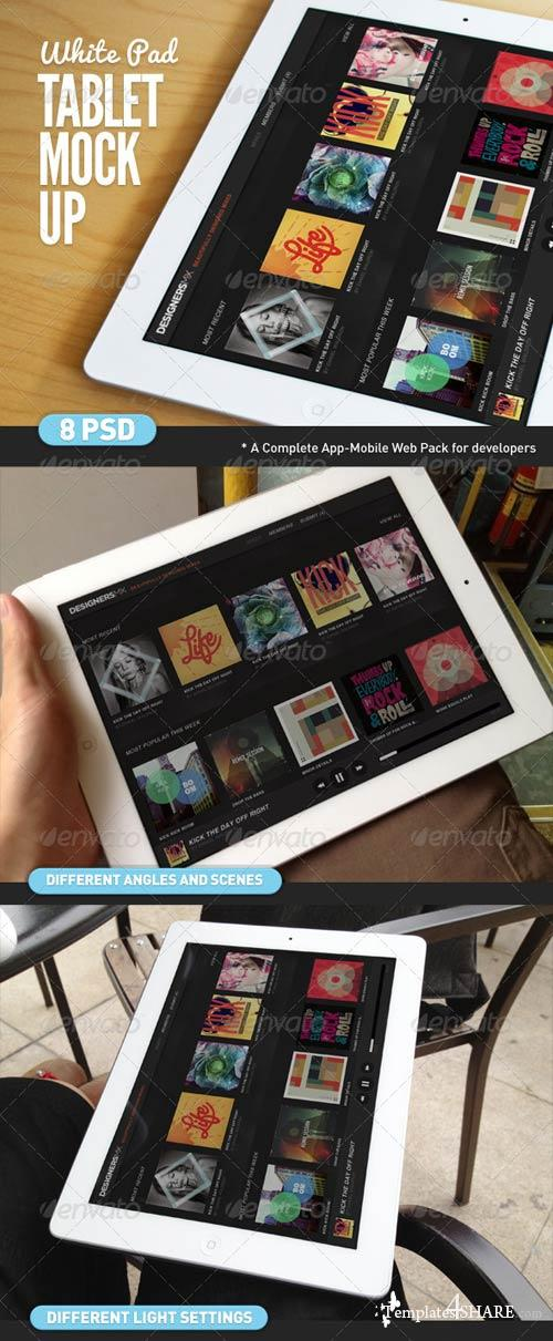 GraphicRiver Tablet App White Pad Mock-Up