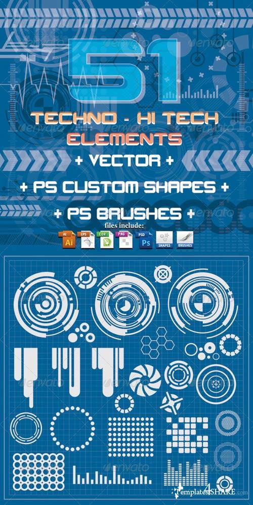 GraphicRiver 51 Techno & Hi Tech Elements