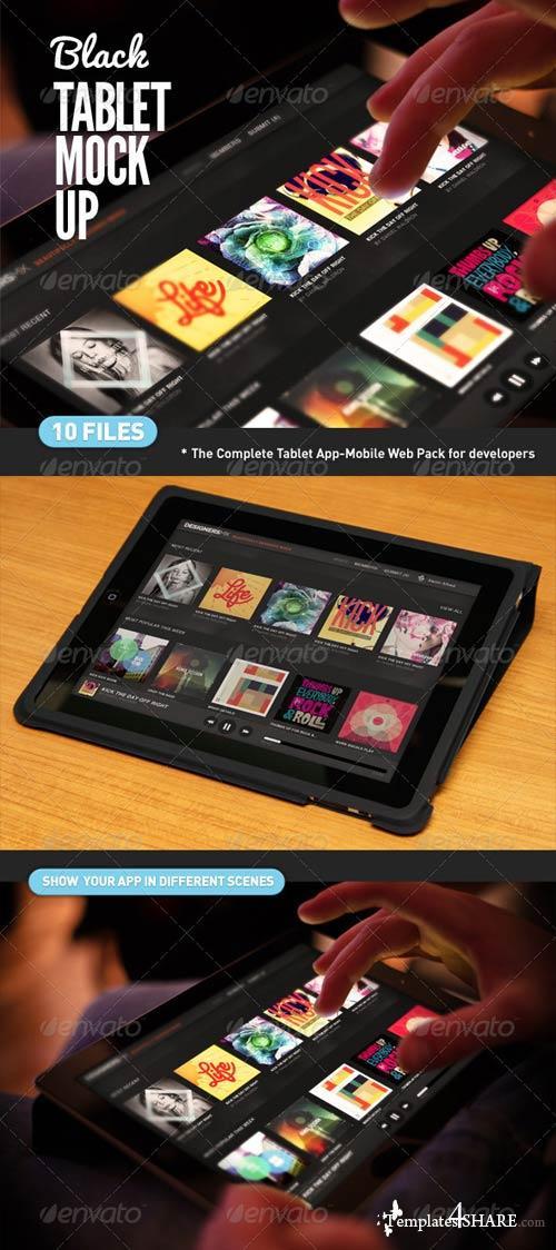 GraphicRiver Black Pad | Tablet App UI Mock-Up