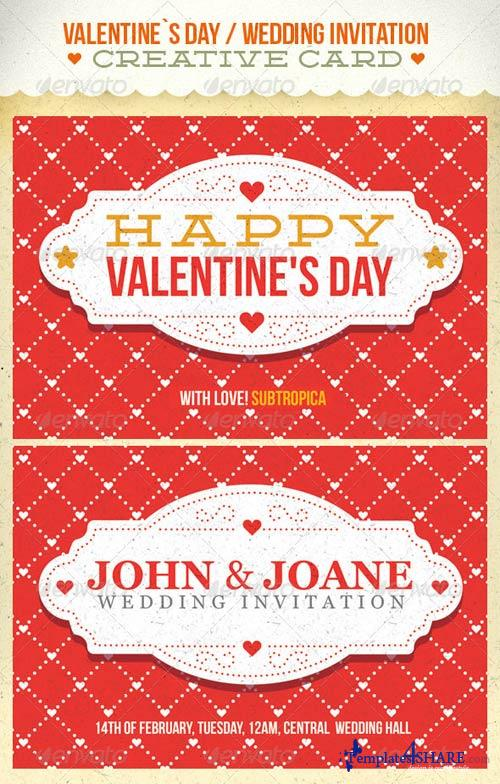 GraphicRiver Valentine's Day And Wedding Invitation Postcard