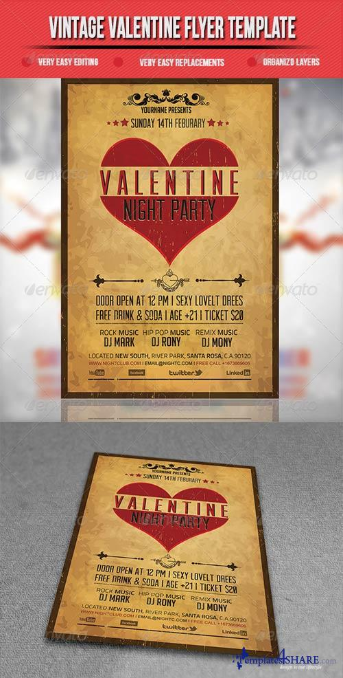 GraphicRiver Vintage Valentine Flyer Template