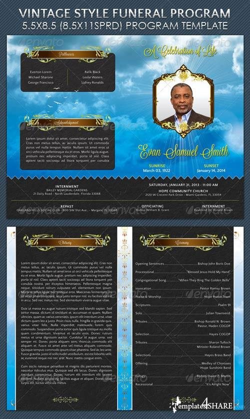 GraphicRiver Vintage Style Funeral Program Template