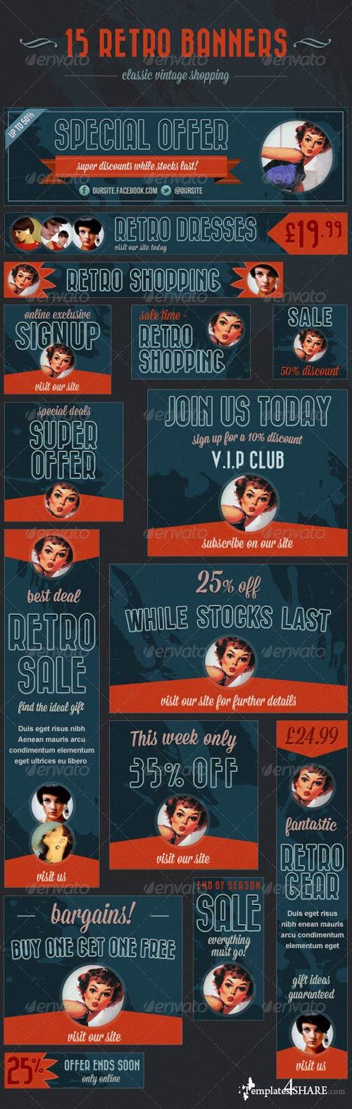 GraphicRiver 15 Retro Banners - Vintage Shopping Ads