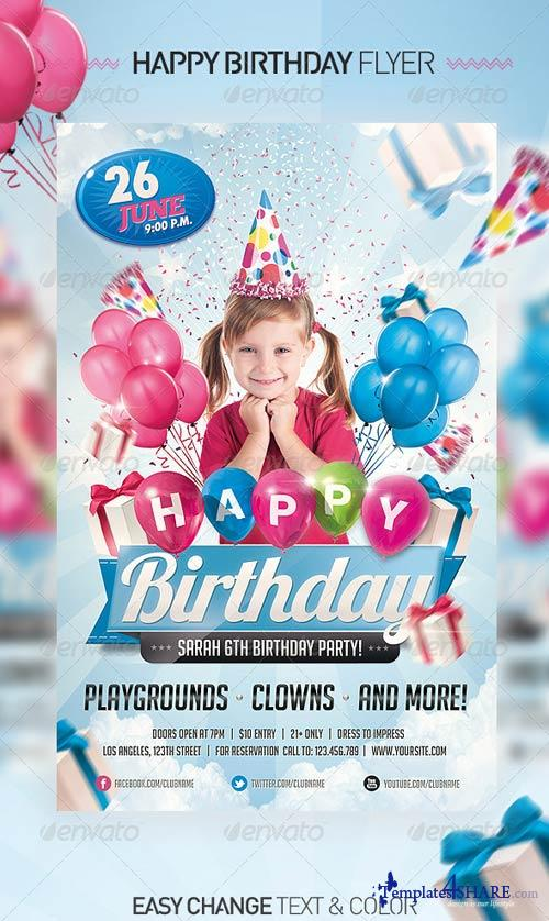 Free Birthday Stuff Website ~ Graphicriver kids birthday invitation party flyer � templates share free web