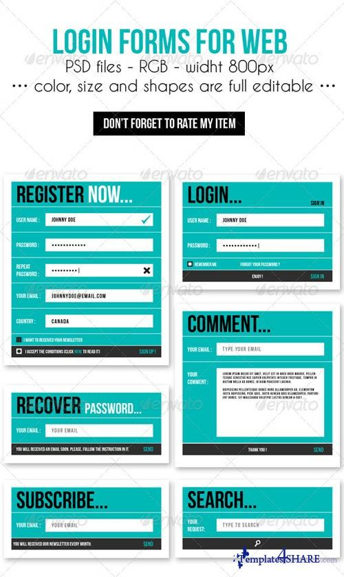 graphicriver login forms for web free web templates themes and graphic. Black Bedroom Furniture Sets. Home Design Ideas