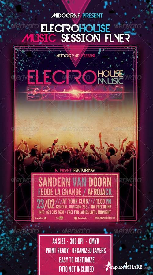 GraphicRiver Electro House Music Session Flyer