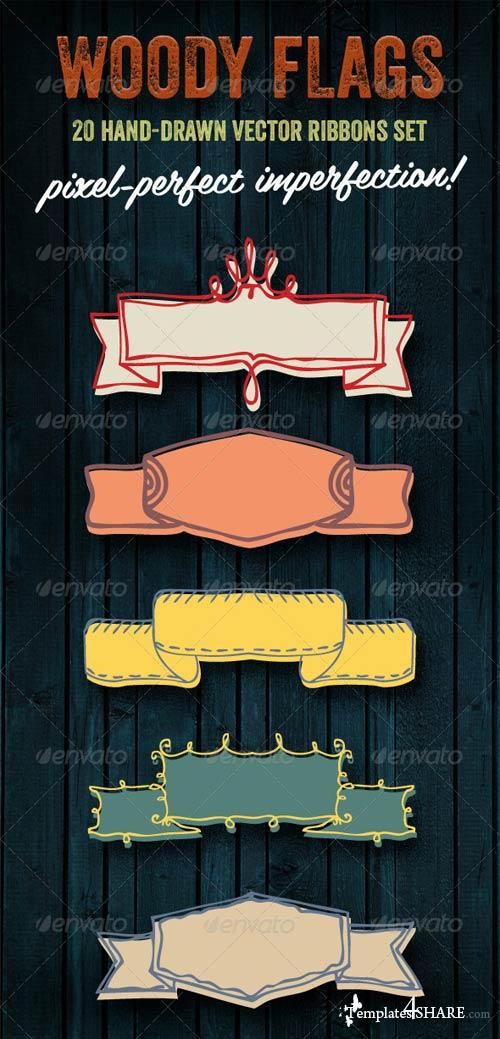 GraphicRiver Woody Flags | 20 Hand-drawn Vector Ribbons Set