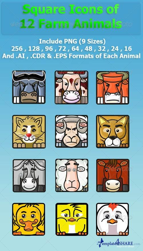 GraphicRiver Square Icons of 12 Farm Animals