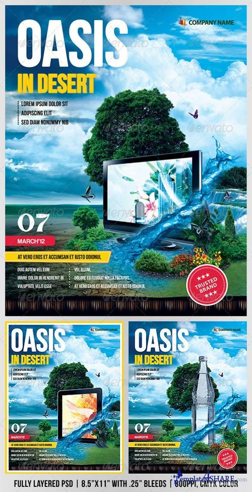 "GraphicRiver ""Oasis In Desert"" Advertising Flyer"