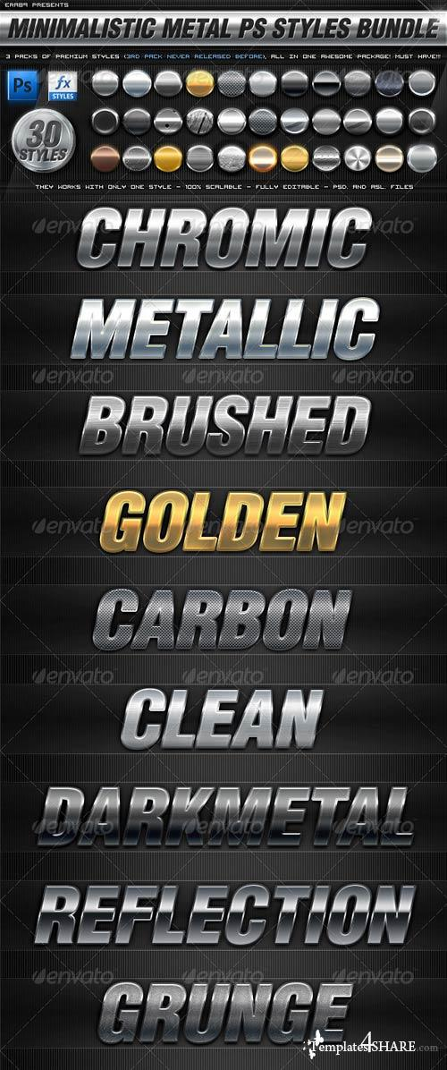 GraphicRiver BUNDLE - 30 Minimalistic Metal PS Styles