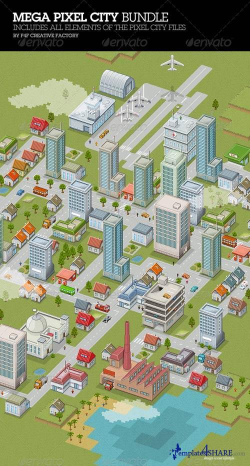 GraphicRiver Mega Pixel City Bundle