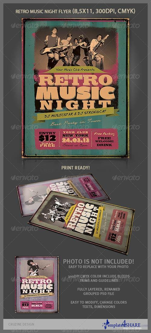 GraphicRiver Retro Music Night Flyer