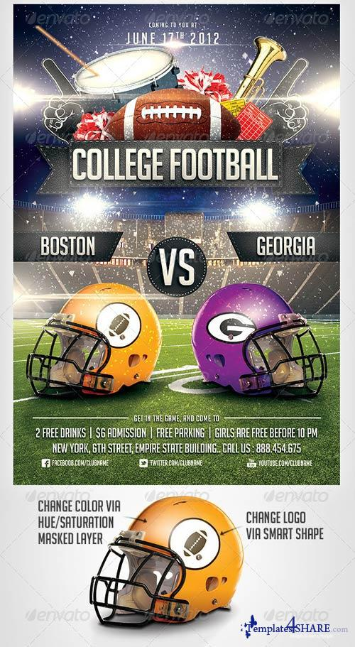 GraphicRiver College Football Flyer Template