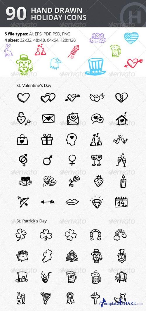 GraphicRiver 90 Hand-drawn Holiday Icons vol.2
